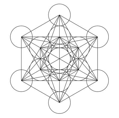 cubo metatron geometria oro santo rame platonico Vettoriali