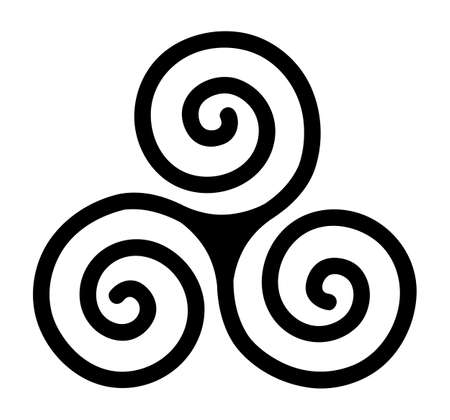isolated triskele spiral sign in vector