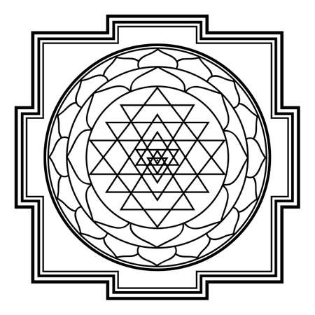 sriyantra shakti hold support geometry hinduism tantrism Çizim