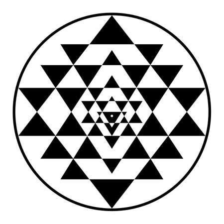 sriyantra, shakti, halten, stützen, geometrie, hinduismus, tantrismus