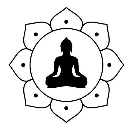 buddha silhouette vektor schatten schwarz buddhismus meditieren