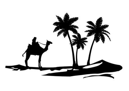 camel palm tree wall decal desert dune islamic Standard-Bild - 123479797