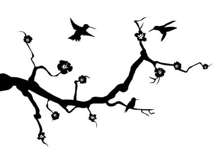 hummingbird animal wall decal wall tattoo wall sticker branch