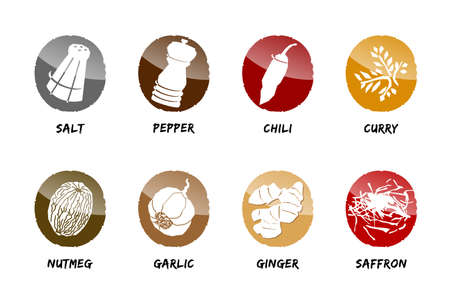 spices button icon vector season cook salt pepper Stock Illustratie