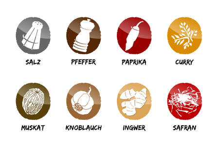 spices button icon vector season cook salt pepper Ilustracja