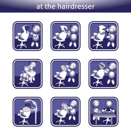 buttons barber dyeing hair color blow dry cut lay drying strand