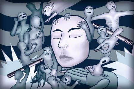 Groteskowy obraz duchów nawiedzających czyjąś głowę