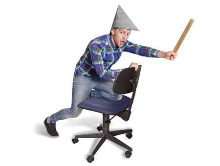 Young office Trainee driving on an office chair