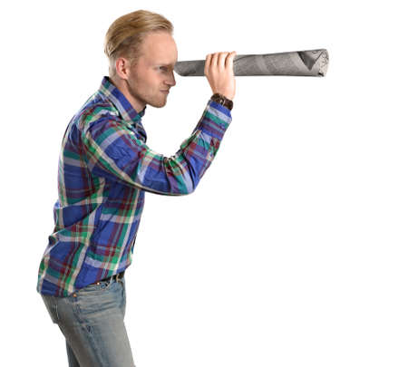 office man acting funny looking through binocular distance