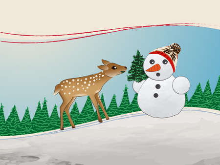 snowman with deer winter snow merry snowflakes