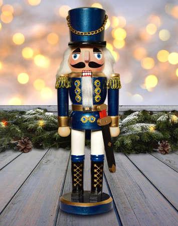 nutcracker german soldier figure christmas decoration window Stock Photo