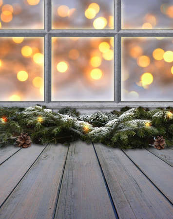 window old wood frame sprouts winter christmas