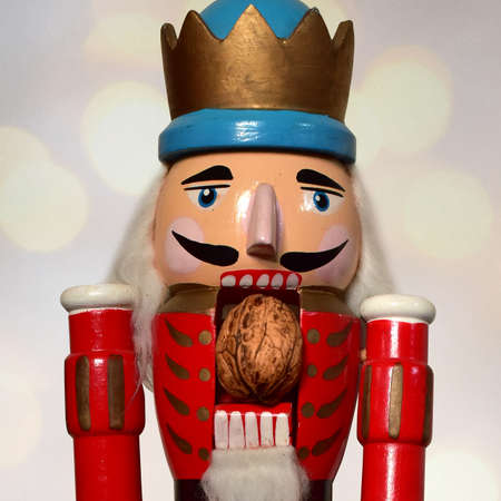 old antique german nutcracker blue toy christmas Stock Photo
