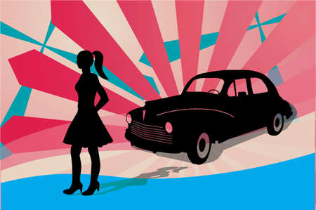 girl oldtimer car retro silhouette shadow outline vector
