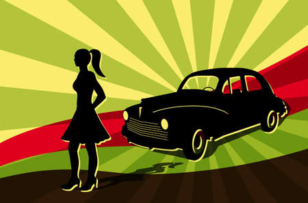 girl oldtimer car retro silhouette shadow outline vector