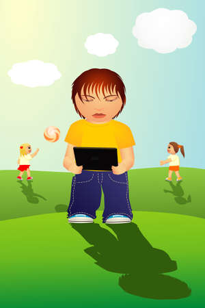 Child is playing cell phone game instead of the ball