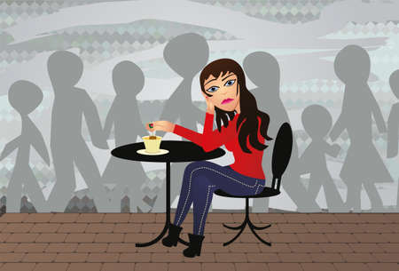 girl sits alone in a cafe sad