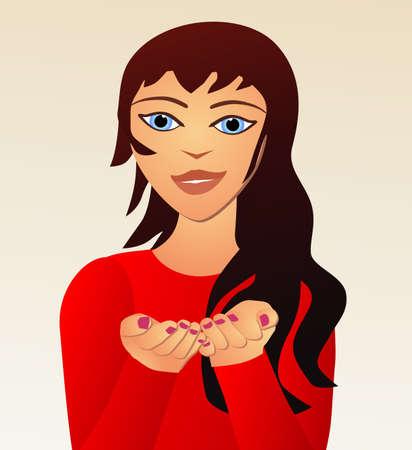 cartoon girl holding something in her hands placeholder Vektorgrafik