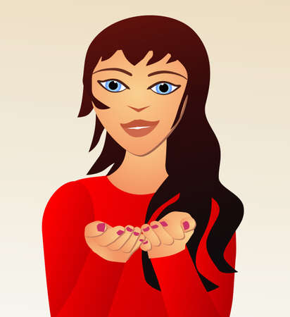 cartoon girl holding something in her hands placeholder