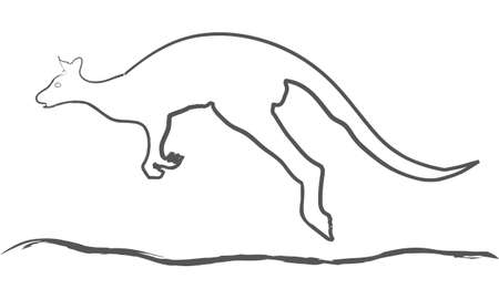 drawing of a bouncing kangaroo animal australia
