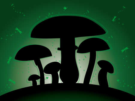 mushroom chanterelle silhouette vector shadow fly green