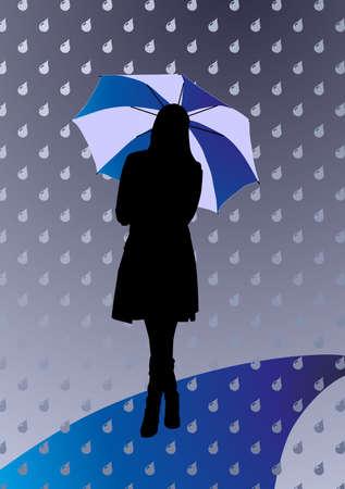 rain woman silhouette weather dark gloomy umbrella