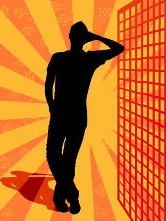 silhouette of a casual guy retro colorful