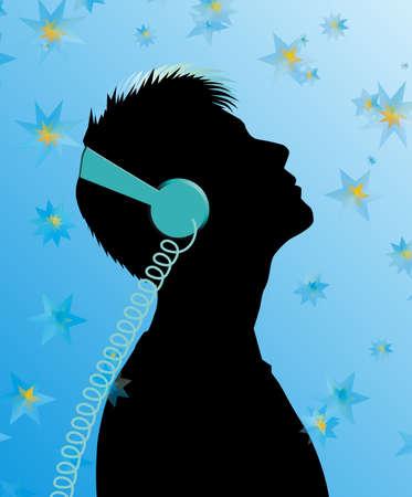 silhouette of a man wearing headphones looking up