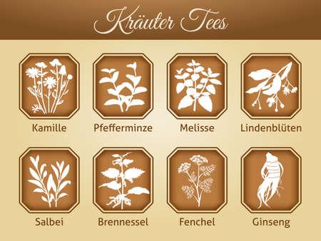 teabag teapot aromatic relaxation wellness antioxidant aroma nature Ilustracja
