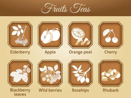 Illustration of different tea varieties as vector