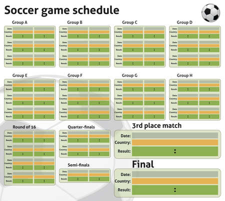 soccer game schedule in vector empty to fill in Ilustração