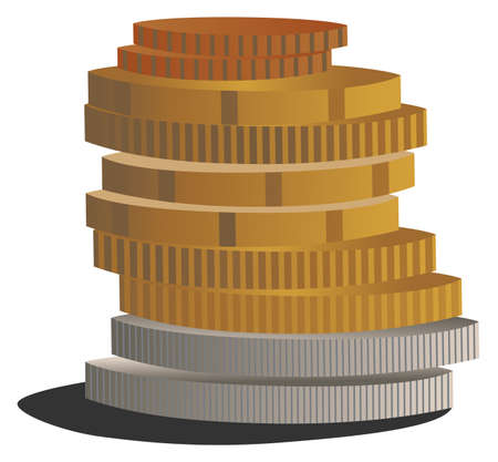 vector illustration of euro coinss budget account