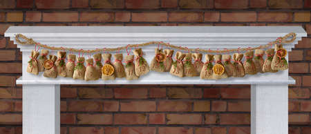 advent calendar bags on a fireplace console