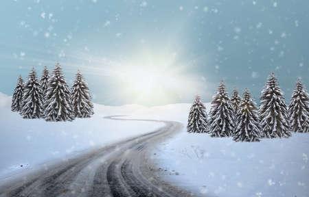 hut lantern north pole christmas road on snow