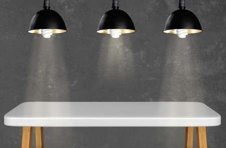 modern desk with background table lamps retro