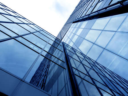 building trade: Business Building with blue Glass