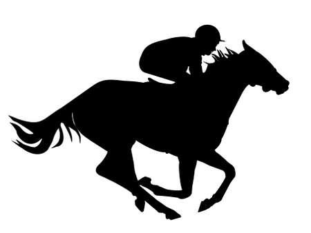 Snel paard met een jockey Stockfoto