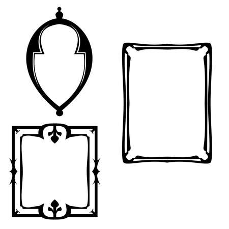 black picture frame: Illustration of vintage frames