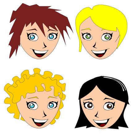 caras chistosas: Ilustraci�n de cuatro ni�as alegres Vectores
