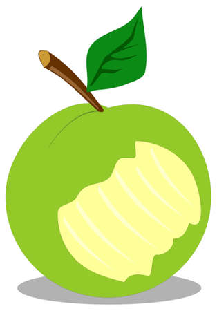 bite apple: Fresh green apple with deep bite Illustration