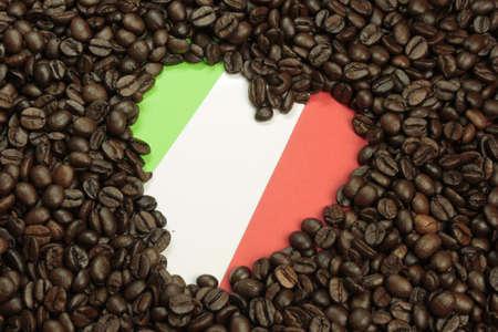 Italian love, Espresso beans with the Italian flag photo