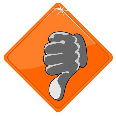 pulgar abajo: Pulgar hacia abajo en signo naranja Vectores