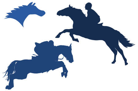 Silhouettes of horses Vector