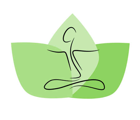 Yoga icon using as healthcare or wellness background Imagens - 8978156