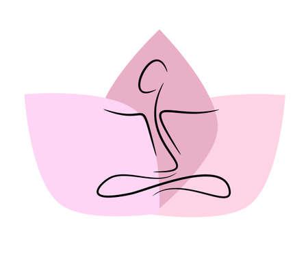 Icono de yoga utilizando como fondo de salud o bienestar