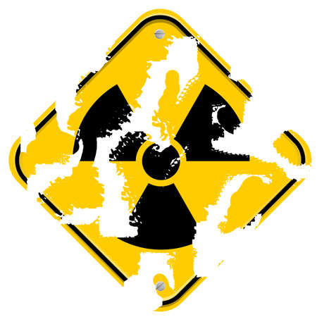 Used yellow sign with radiation icon photo