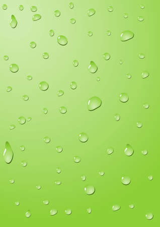 trickle: Drops of water on a green background Stock Photo
