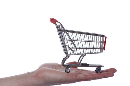 Hand with shopping cart Stock Photo - 9364937