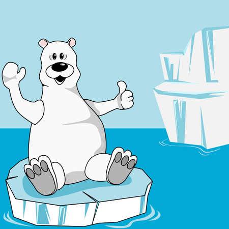 gla�on: Ours polaire sur une plaque de glace