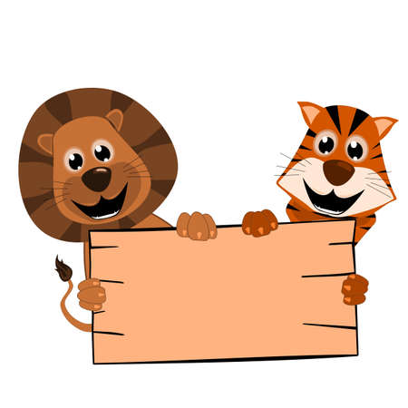 mammal: Cute lion and tiger with wooden sign